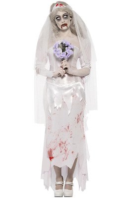 Womens Dead Zombie Ghost Bride Halloween Fancy Dress Costume • 35.99£