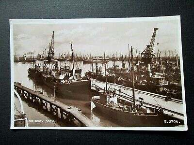 £2.50 • Buy GRIMSBY DOCK, BUSY HARBOUR, TUGS, BOATS - VALENTINE'S REAL PHOTO G3704 (1930s)