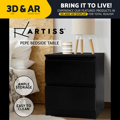 AU69.90 • Buy Artiss Bedside Tables Drawers Side Table Bedroom Furniture Nightstand Black Lamp