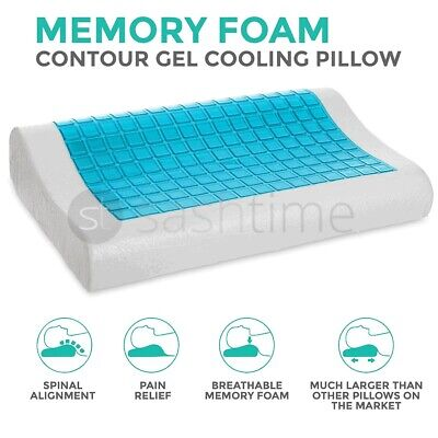 Cooling Orthopedic Memory Foam Contour Cervical Pillow Gel Firm Head Neck Back  • 14.95£