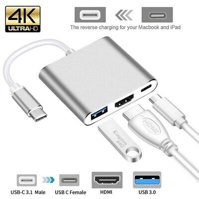 AU10.97 • Buy NEW* 3IN1 USB 3.1 Type-C USB-C To Female HUB 4K HDMI Data Charging Adapter Cable