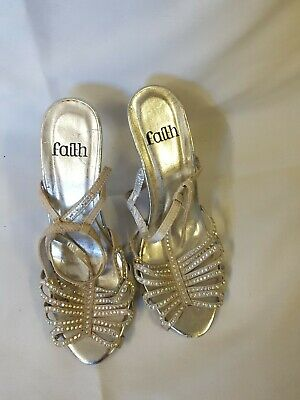 WOMENS SHOES FAITH DIAMOND/SILVER Colour Size 4 • 15£
