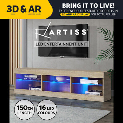 AU153.95 • Buy Artiss TV Cabinet Entertainment Unit Stand RGB LED Glass Shelf Storage 150cm Oak