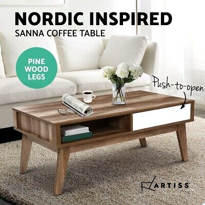 AU66.95 • Buy Artiss Coffee Table Storage Tables 2 Drawers Shelf Scandinavian Wooden White