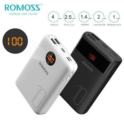 AU19.99 • Buy Romoss External LED Power Bank Dual USB 10000mAh Quick Charge For Mobile Phone