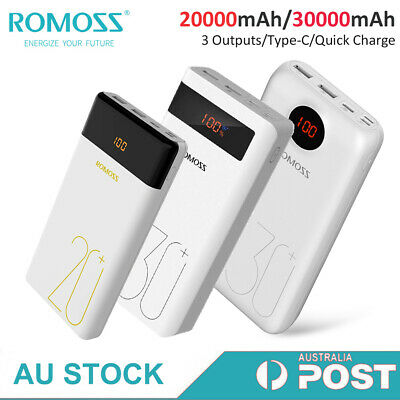 AU41.99 • Buy Romoss Portable Power Bank QC3.0 USB-C 2-Way 18W PD 3*USB Fast Charger For Phone