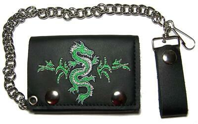 $12.95 • Buy EMBROIDERED CHINESE GREEN DRAGON TRI FOLD BIKER WALLET W CHAIN Mens LEATHER #664