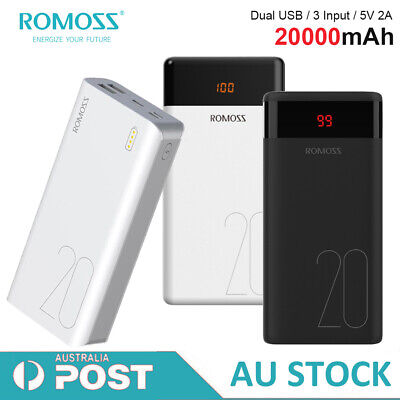 AU26.09 • Buy Romoss 20000mAh Power Bank 5V 2.1A Fast Charge Dual USB Portable Phone Charger