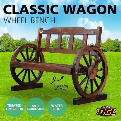 AU174.95 • Buy OGL Classic Wooden Garden Bench Seat Outdoor Furniture W/Wagon Wheel Patio Chair