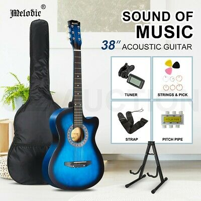 AU69.95 • Buy Melodic 38  Acoustic Guitar Wooden Cutaway Steel String W/ Stand Tuner Strings