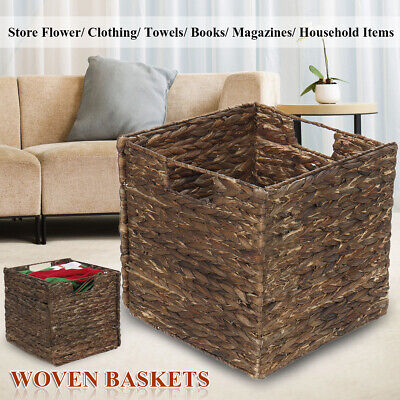 Seagrass Woven Hand Made Box Wicker Storage Laundry Basket Home Organizer Cube • 11.62£