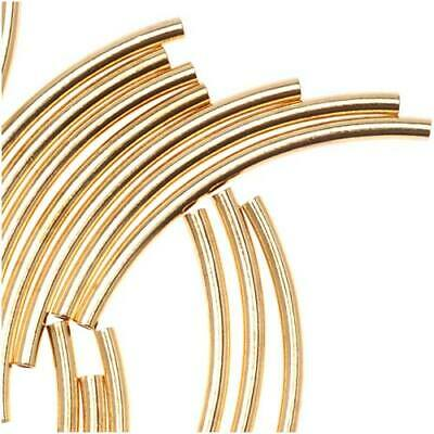 $8.19 • Buy Gold Plated Curved Noodle Tube Beads 1.5 X 20mm (50 Pieces)