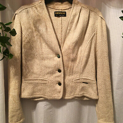 $30 • Buy Geiger 40 Made In Australia Oatmeal Colored Button Up Long Sleeve Short Jacket