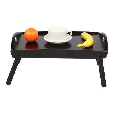 $18.09 • Buy Wooden Breakfast In Bed Table Tray Foldable Leg Laptop Serving Food Eating Brown