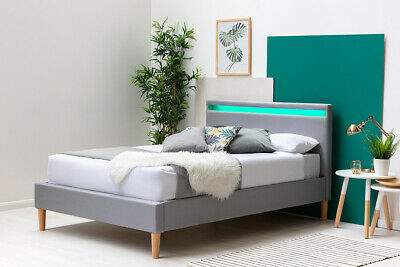 Modern Grey Fabric Bed Frame With LED Headboard Single Double King Size • 199.99£