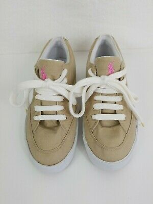 $17.95 • Buy POLO Ralph Lauren Vintage 90s Women's Tan Canvas Shoes With Pink Polo Size 7B