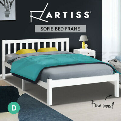 AU159.95 • Buy Artiss Bed Frame Double Full Size Wooden Pine Timber Mattress Base Bedroom