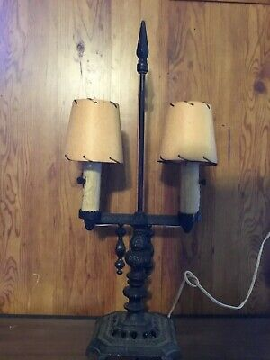 $149.99 • Buy Vintage Cast Iron Double Arm Candelabra Lamp Gothic Look Birch Look Candesticks