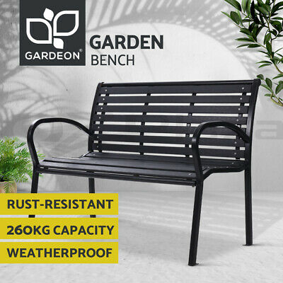 AU139.90 • Buy Gardeon Outdoor Furniture Garden Bench Seat Chairs Steel Lounge Patio Park Black