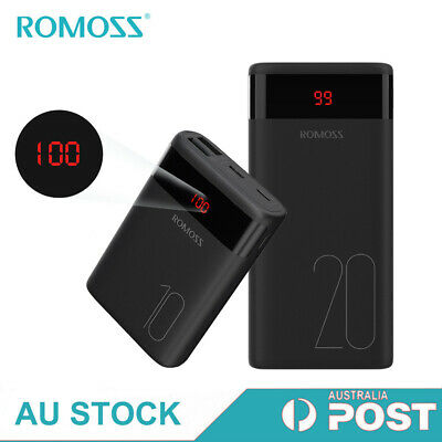 AU19.99 • Buy Romoss External Power Bank Dual USB 2.1A Quick Charge Portable Battery Charger