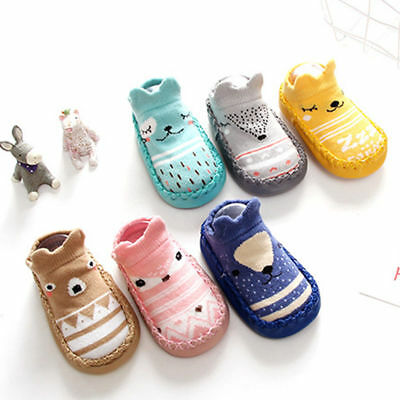 Cartoon Newborn Baby Kids Toddler Anti-Slip Socks Slipper Bell Home Shoes Boots • 3.28£