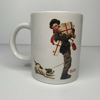 $ CDN15.11 • Buy Norman Rockwell  Christmas Packages  Boy Holding Presents W Puppy Dog Coffee Mug