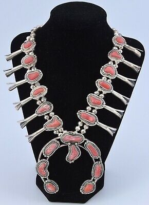 $ CDN1585.88 • Buy NICE Vintage Sterling Silver Coral Squash Blossom Necklace Native American