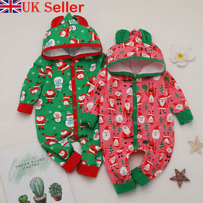 UK Xmas Newborn Baby Boy Girl Romper Santa Claus Jumpsuit Outfit Hooded Clothes • 7.99£