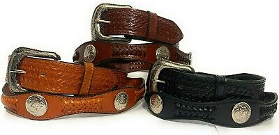 $28.99 • Buy Men's Concho Western Cowboy Leather Belt. Hand Laced Concho Rodeo Decorated Belt
