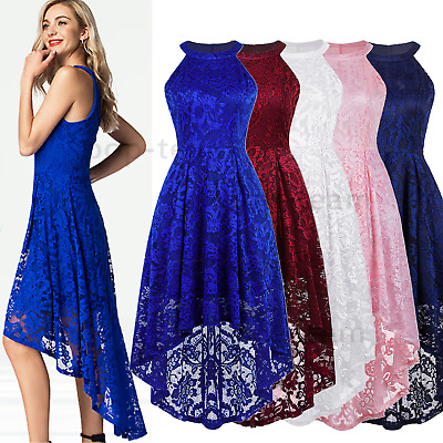Women's Lace High Low Bridesmaid Dress Formal Cocktail Party Swing Maxi Dress • 22.99£