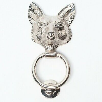 £48 • Buy Classical Solid Brass Chrome Finish Fox Door Knocker Animal Country Style
