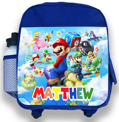 Personalised Kids Blue Backpack Any Name Super Mario Boys Childrens School Bag 1 • 14.99£