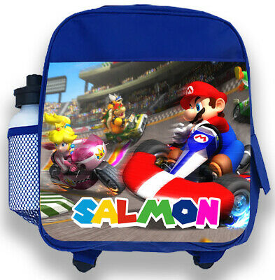 Personalised Kids Blue Backpack Any Name Super Mario Boys Childrens School Bag 3 • 14.99£