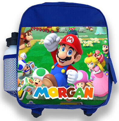 Personalised Kids Blue Backpack Any Name Super Mario Boys Childrens School Bag 7 • 14.99£