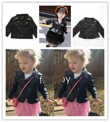 Kids Leather Jackets Jacket Cool Baby Boys Girls Motorcycle Biker Coats Outwear • 12.99£