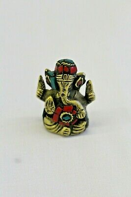 Antique Style Chip Stones Brass Small Ganesha Ganesh Elephant God Statue Diwali  • 9.99£