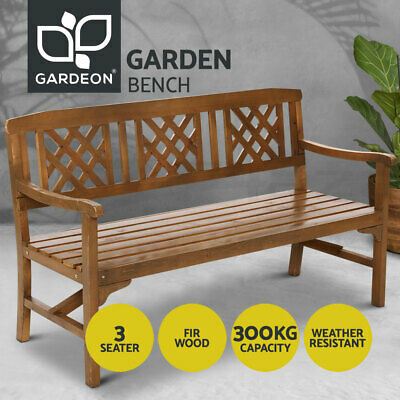 AU169 • Buy Gardeon Wooden Garden Bench 3 Seat Outdoor Chair Lounge Patio Furniture Timber
