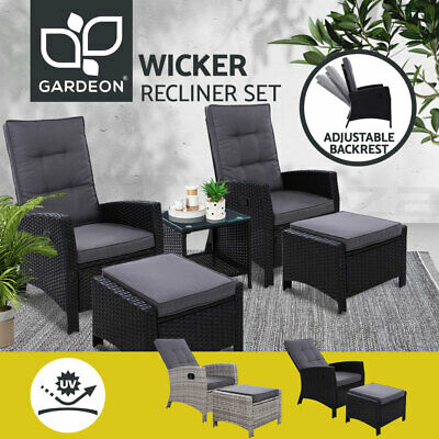 AU349.95 • Buy Gardeon Recliner Chairs Outdoor Sun Lounge Setting Wicker Sofa Patio Furniture