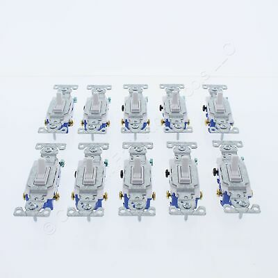 10 New Eaton White Quiet Toggle Wall Light Switches 3-WAY 15A 120V 1303-7W • 13.59$