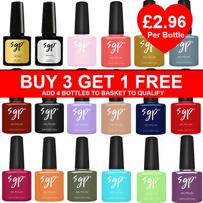 SGP Nail Gel Nail Polish UV LED Soak Off 165+ Colour Nail Varnish Top Base Coat  • 3.95£