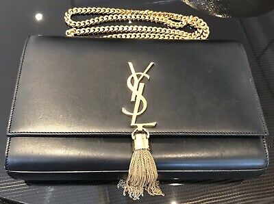 AU1569 • Buy Authentic YSL Saint Laurent Kate Medium W/ Tassel Smooth Leather Black Gold Bag