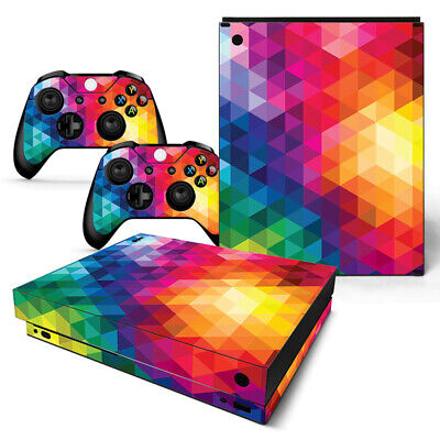 $12.97 • Buy Xbox One X Skin Console & 2 Controllers Neon Triangle Vinyl Wrap Decal