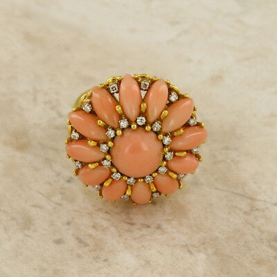 Coral And Diamond 18ct Yellow Gold Cluster Ring • 1,700£