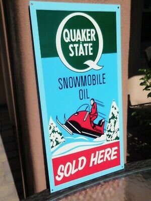 Quaker State Snowmoble Oil Sold Here. This Sign Is Heavy 14 Gauge Metal 24x12'' • 69.99$