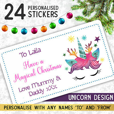 £2.25 • Buy 24 Personalised UNICORN Merry Christmas Stickers For Gift Wrapping Presents