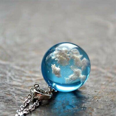 $1.49 • Buy White Clouds Blue Sky Resin Glass Ball Pendant Necklace Terrarium Fashion Gift