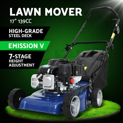AU289 • Buy Lawn Mower 139cc 17  Petrol Powered Push Lawnmower 4 Stroke Engine  Steel Deck
