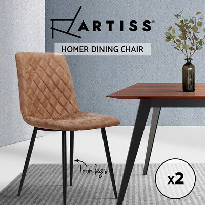 AU92.95 • Buy Artiss Dining Chairs Replica Kitchen Chair Leather Padded Retro Iron Legs X2