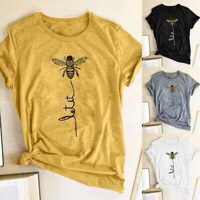 AU18.56 • Buy Women Summer Tops Short Sleeve Cotton Bee Print Funny Graphic T-shirt Tee Blouse