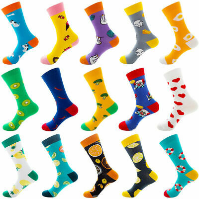 £3.99 • Buy Mens Combed Cotton Funny Socks Funny Fruits Animal Casual Fashion Breathable